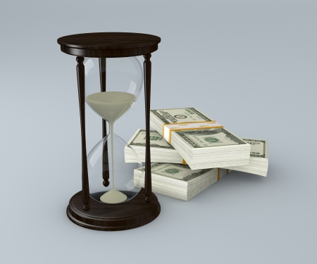 bussiness time: one hourglass with stacks of banknotes (3d render)