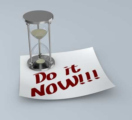 one post-it with an hourglass and text: do it now (3d render) photo