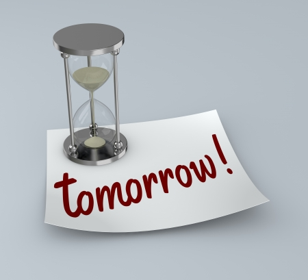 one post-it with an hourglass and text: tomorrow (3d render) photo