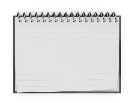 one notepad with white page for custom text or image (3d render)