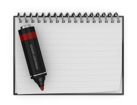 one marker and notepad with white page for custom text or image (3d render) photo