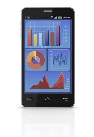 one cell phone with financial charts on the screen (3d render) photo