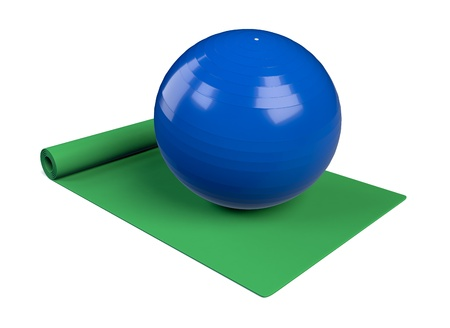 one green fitness mat with a ball (3d render) photo