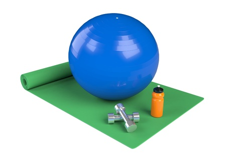 one green fitness mat with a ball, water bottle and dumbbell (3d render) photo
