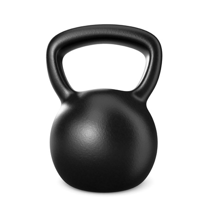 kettle: one black kettlebell on white (3d render) Stock Photo