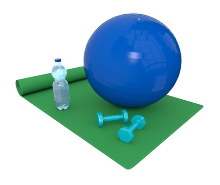 ball of water: one green fitness mat with a ball, water bottle and dumbbell (3d render) Stock Photo