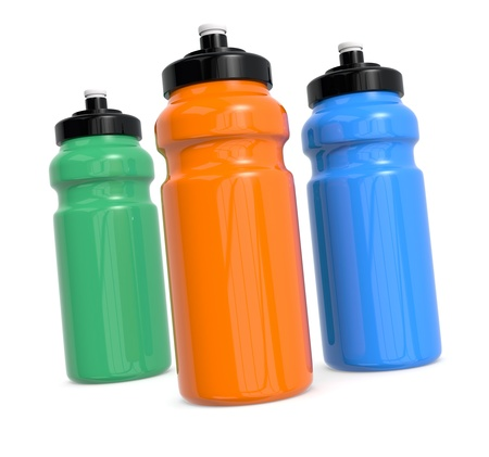individual sport: three reusable water bottles on white (3d render) Stock Photo