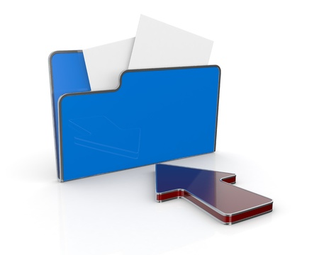 one computer folder with a red arrow (3d render) photo