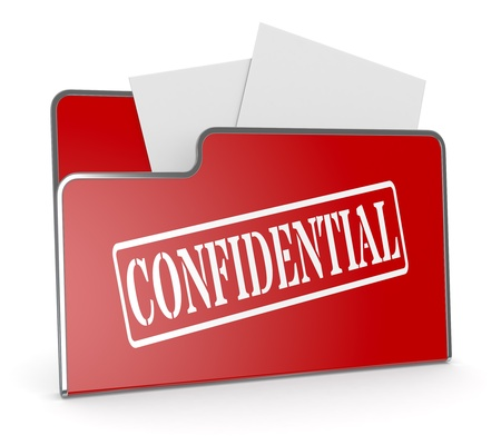 one computer folder with text: confidential (3d render) Stock Photo - 19115408