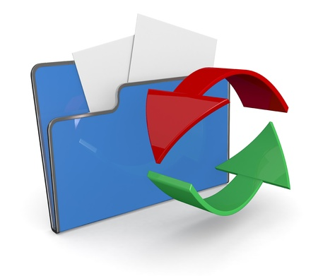one computer folder with two arrows (3d render) photo