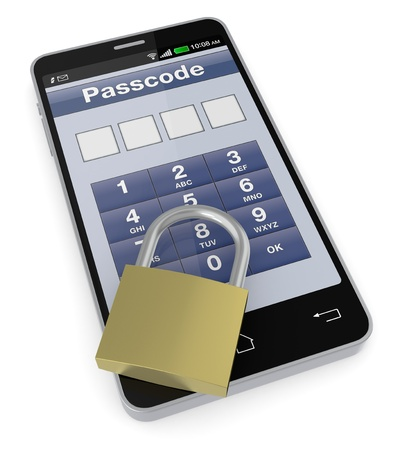 one cell phone with a security application and a padlock (3d render) photo