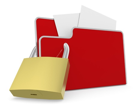 one computer folder with a padlock (3d render) Stock Photo - 19115426