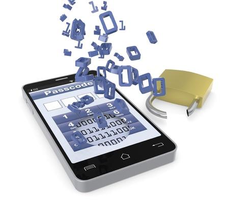ein Handy mit einer Sicherheits-Anwendung und einem gebrochenen Vorhängeschloss; Konzept der Diebstahl von Daten (3d render) Standard-Bild