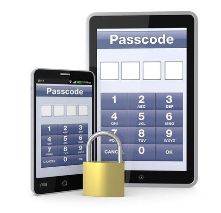 one cell phone and a pc tablet with a security application and a padlock (3d render) photo