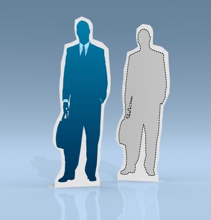 cardboard cutout: due cartone ritaglio di uomini d'affari di colore diverso (rendering 3d)