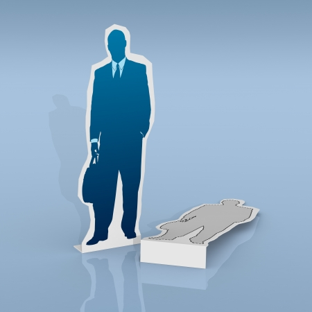 advantages: two cardboard cutouts of businessmen. One is lying on the ground  (3d render)