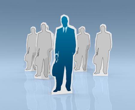 cardboard cutout: cartone ritaglio di un uomo d'affari. sullo sfondo ci sono altri ritagli di cartone (rendering 3d)
