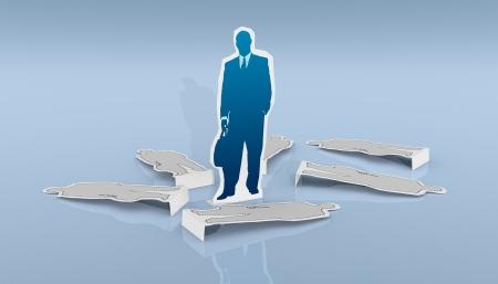 cardboard cutout: Un cartone ritaglio di un uomo d'affari, e qualche sagoma di cartone steso a terra (rendering 3d)