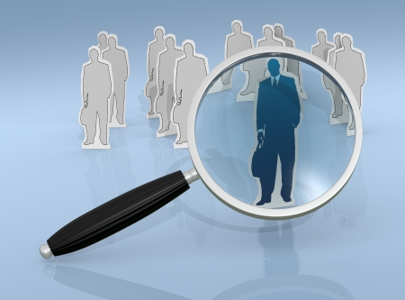 cardboard cutout of a businessman and a magnifying glass. in the background there are other cardboard cutouts (3d render) photo
