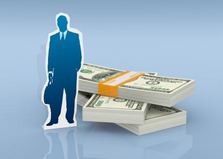 cardboard cutout: un ritaglio di cartone di un uomo d'affari con pile di banconote (rendering 3d)
