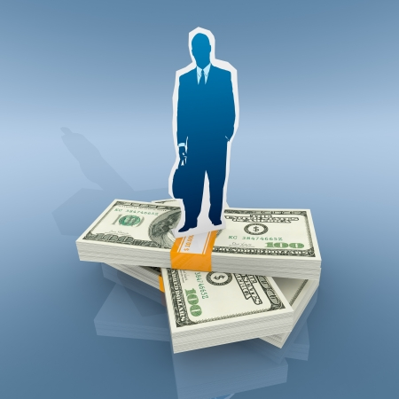 one cardboard cutout of a businessman with stacks of banknotes (3d render) Stock Photo - 19115479