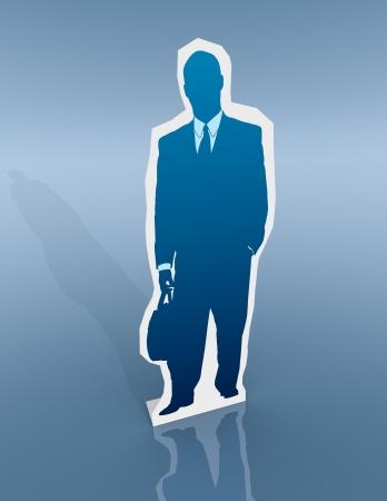 cardboard cutout: un ritaglio di cartone di un uomo d'affari (rendering 3d) Archivio Fotografico