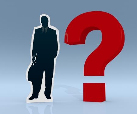 cardboard cutout: un ritaglio di cartone di un uomo d'affari con un punto interrogativo (rendering 3d)