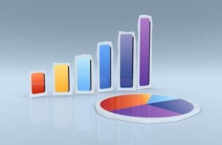 cutouts: cardboard cutouts of financial charts (3d render)
