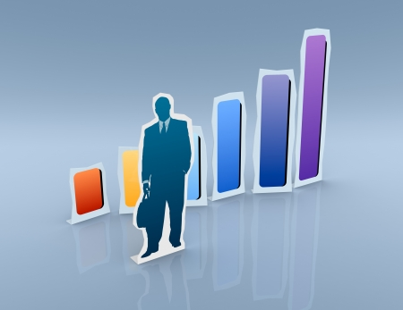 one cardboard cutout of a businessman with a financial chart (3d render) Stock Photo - 19115430