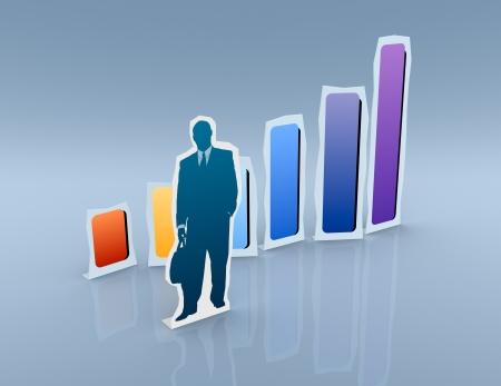 cardboard cutout: un ritaglio di cartone di un uomo d'affari con un grafico finanziario (rendering 3d)