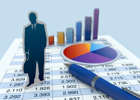 cardboard cutout: un ritaglio di cartone di un uomo d'affari con grafici finanziari e di un foglio di lavoro (rendering 3d) Archivio Fotografico