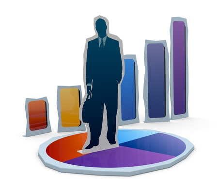 cardboard cutout: una sagoma di cartone di un uomo d'affari con grafici finanziari (rendering 3d)