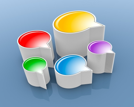 five stacks of text balloons in different colors (3d render) photo