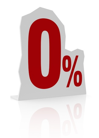 cardboard cutout: sagoma di cartone con il numero zero e il simbolo di percentuale (render 3d)
