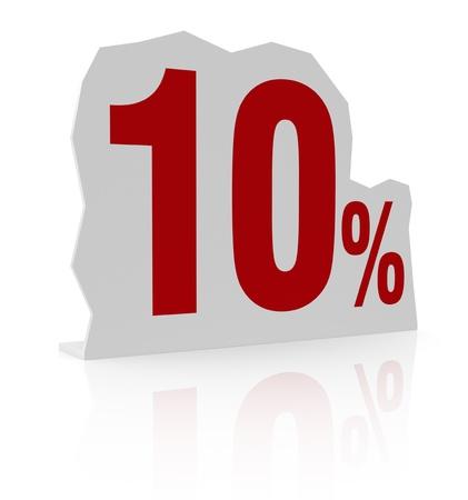cardboard cutout: sagoma di cartone con il numero dieci e il simbolo di percentuale (render 3d)