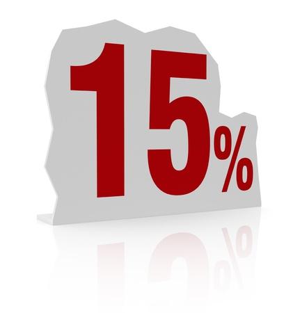 cardboard cutout: sagoma di cartone con il numero quindici e il simbolo di percentuale (render 3d)