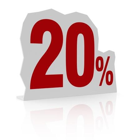 cardboard cutout: sagoma di cartone con il numero di venti e simbolo di percentuale (render 3d)