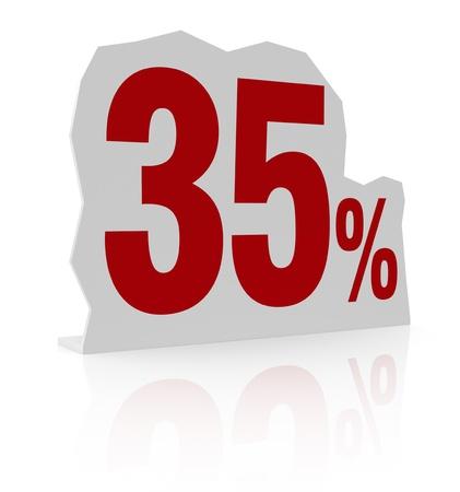 thirty five: sagoma di cartone con il numero trenta e simbolo di percentuale (render 3d) Archivio Fotografico