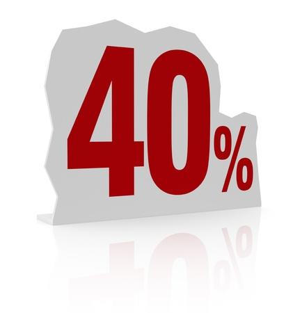 cardboard cutout: sagoma di cartone con il numero quaranta e il simbolo di percentuale (render 3d) Archivio Fotografico