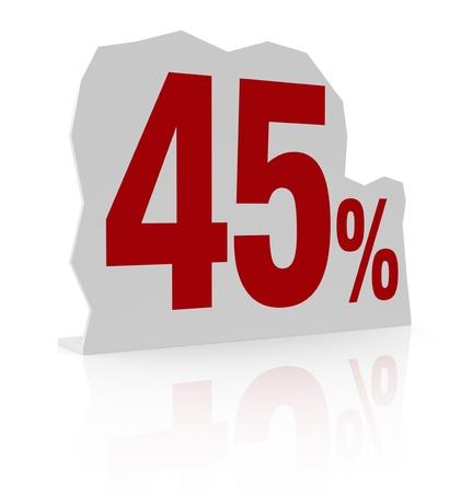 cardboard cutout: sagoma di cartone con il numero quaranta e simbolo di percentuale (render 3d)