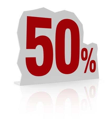 cardboard cutout: sagoma di cartone con il numero cinquanta e simbolo di percentuale (render 3d)