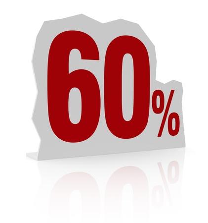 cardboard cutout: sagoma di cartone con il numero sessanta e il simbolo di percentuale (render 3d) Archivio Fotografico