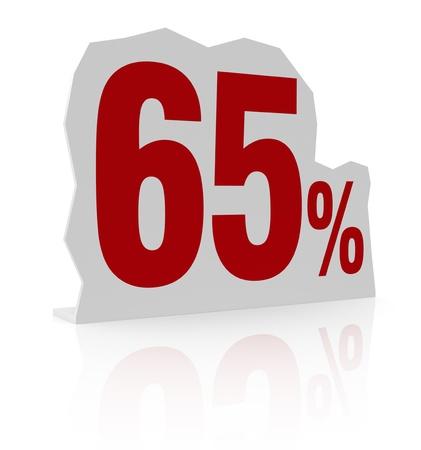 cardboard cutout: sagoma di cartone con il numero sessanta e simbolo di percentuale (render 3d) Archivio Fotografico