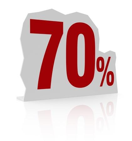 cardboard cutout: sagoma di cartone con il numero settanta e il simbolo di percentuale (render 3d) Archivio Fotografico