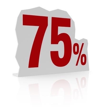 cardboard cutout: sagoma di cartone con il numero settanta e simbolo di percentuale (render 3d)