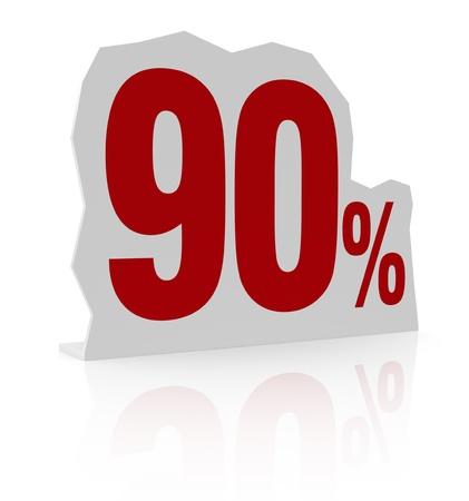 cardboard cutout: sagoma di cartone con il numero novanta e il simbolo di percentuale (render 3d)