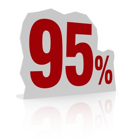 cardboard cutout: sagoma di cartone con il numero novanta e simbolo di percentuale (render 3d)