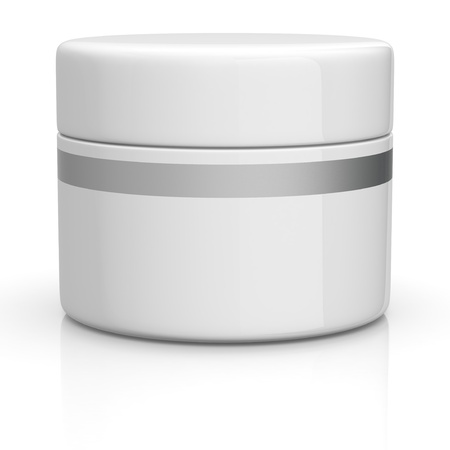 jar: one white jar for cream (3d render)