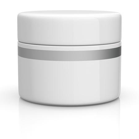 one white jar for cream (3d render)