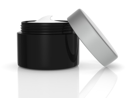 skincare products: one black jar open with cream (3d render)